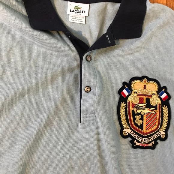 Lacoste Shirts Rare 3d Big Alligator Logo Polo Bluea16 Poshmark
